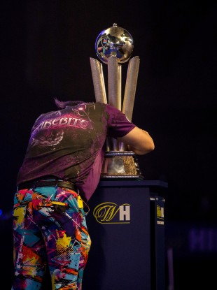 Never give up: an emotional Wright celebrates his win.