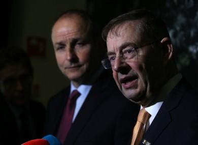 File photo of Éamon Ó Cuív (right) with Fianna Fáil leader Micheál Martin.