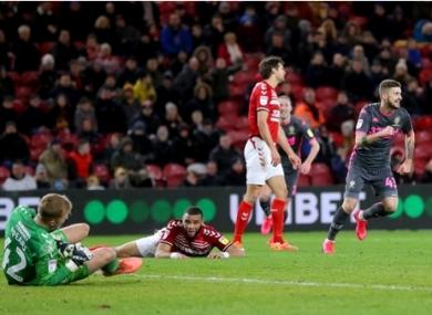 Leeds United's Mateusz Klich (right) celebrates scoring his side's winning goal.