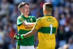 Kerry goalkeeper Deividas Uosis celebrates with team-mate Chris O'Donoghue after the 2017 All-Ireland minor final.