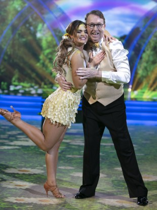 Fr Ray Kelly with pro-dancer Kylee Vincent pictured during last week's live show of Dancing with the Stars.