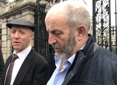 Michael and Danny Healy Rae outside Leinster House today.
