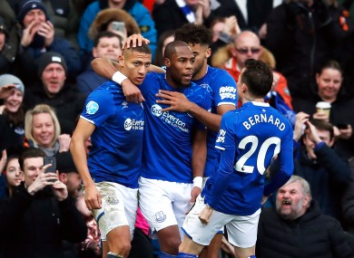 On the up: Richarlison and his Everton team-mates celebrate.