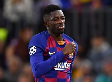 Dembele limps off with a thigh issue against Borussia Dortmund in November.