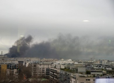 The fire in progress in Paris this evening.