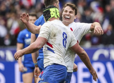Gregory Alldritt is congratulated for scoring against Italy.