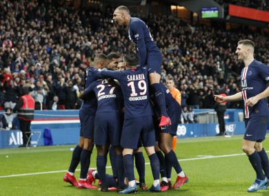 PSG players celebrating during their victory.