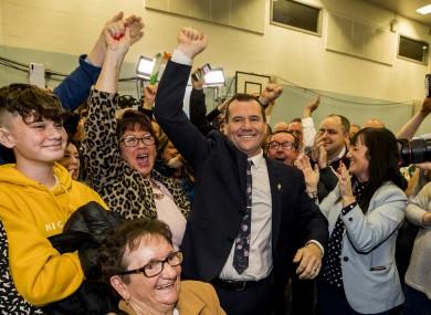 Sinn Féin's Paul Donnelly celebrates after topping the poll ahead of Taoiseach Leo Varadkar.