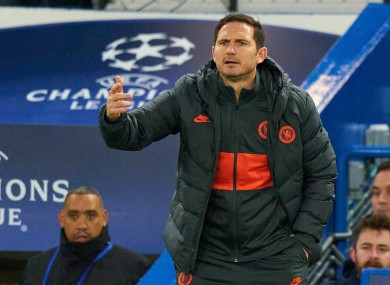 Chelsea boss Lampard looks on during his side's Champions League clash with Bayern Munich.