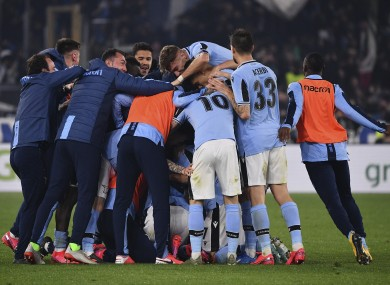 Lazio players celebrate after their teammate Sergej Milinkovic-Savic scored.