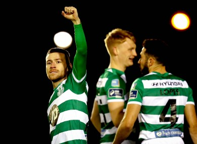Jack Byrne celebrates his side's first goal against Waterford on Monday night.