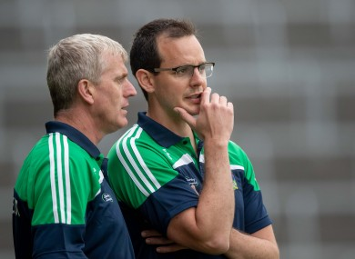 Limerick manager John Kiely with team coach and maor foirne Paul Kinnerk.