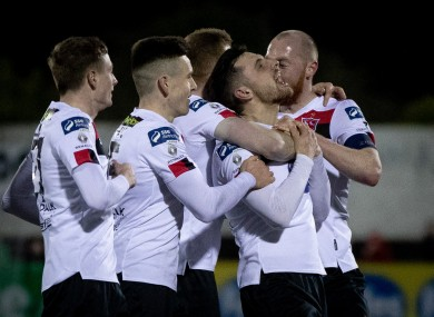 Dundalk's Jordan Flores celebrates scoring a goal with Daniel Kelly, Darragh Leahy, Sean Hoare and Chris Shields.