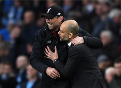 Liverpool boss Jurgen Klopp and City counterpart Pep Guardiola.