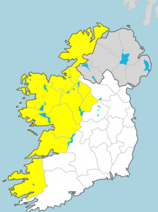 Counties affected by Status Yellow rainfall warning tomorrow.