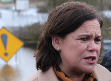 Sinn Fein leader Mary Lou McDonald spoke at a rally in Liberty Hall this evening
