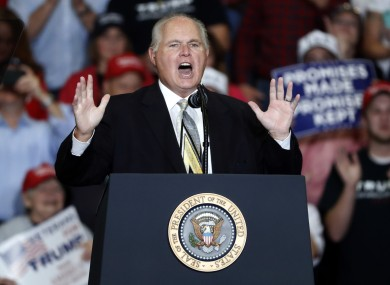 Limbaugh at a Trump campaign rally in 2018.