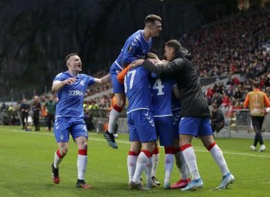 Rangers celebrate their decisive goal.