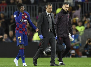 Dembele leaving the pitch with a problem earlier in the season.