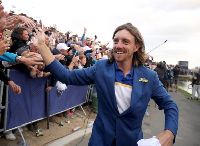 Fleetwood during the 2018 Ryder Cup.