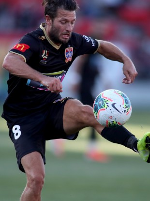 Wes Hoolahan in possession for Newcastle Jets during their win against Adelaide United.