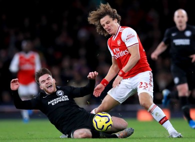 Aaron Connolly in action against Arsenal earlier in the season.
