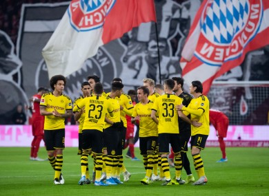 Borussia Dortmund players pictured before their game against Bayern Munich in November.