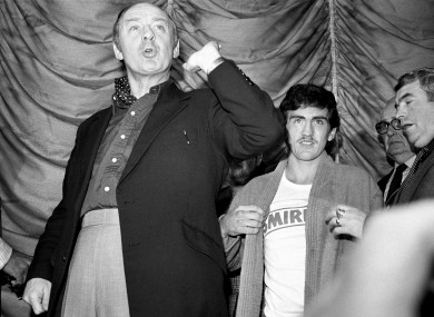 Barney Eastwood fights McGuigan's corner at the weigh-in of the Pedroza fight.