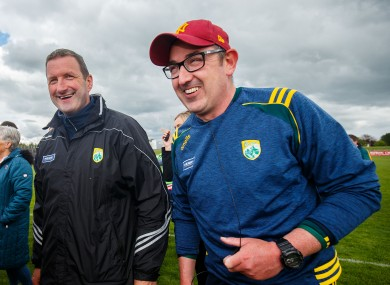 Kerry manager Fintan O'Connor (right) with Brendan Cummins (file photo)