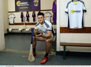 Wexford hurler Lee Chin at the official announcement of Chadwicks' naming rights partnership with Wexford GAA.
