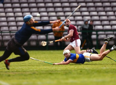 Galway's Conor Whelan hits the net.