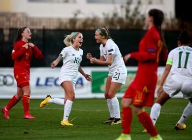 Denise O'Sullivan celebrates scoring Ireland's third goal.