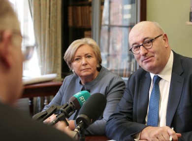 Frances Fitzgerald and EU Trade Commissioner Phil Hogan give a press conference before a seminar at the Royal Irish Academy.