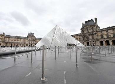 The closed Louvre Museum in Paris, France