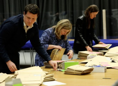 Staff begin to count votes at the count centre, at the Printworks, Dublin Castle