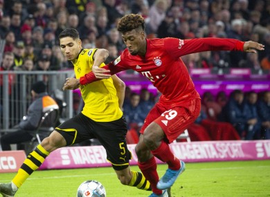 Dortmund full-back Achraf Hakimi and Bayern winger Kingsley Coman.