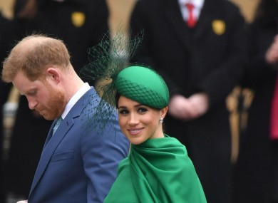 Harry and Meghan arriving at Westminster Abbey today.