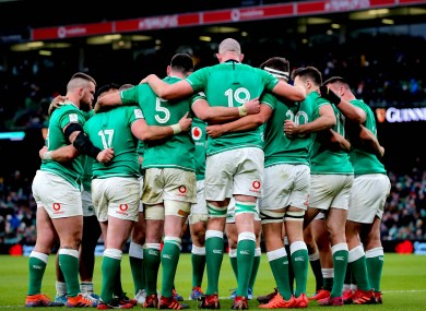 The Ireland team huddle during their game against Wales.