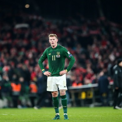 McClean after a clash with Denmark in the Aviva.