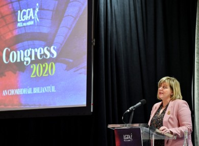 Marie Hickey, President, LGFA, gives an address during congress.