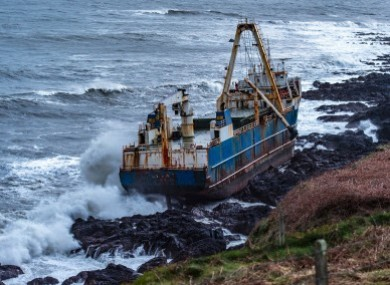 The MV Alta aground in Ballycotton.