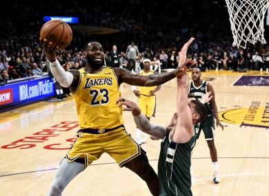 LeBron James in action against the Milwaukee Bucks.