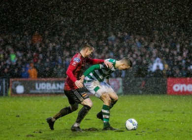 Shamrock Rovers' Neil Farrugia and Michael Barker of Bohemians.