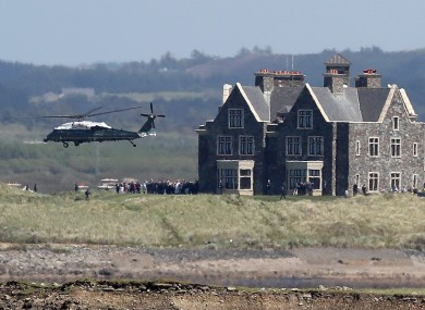 Trump's helicopter on a visit to the Clare resort