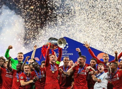Liverpool lifting the Champions Leaue trophy last season.