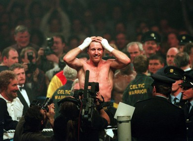 Steve Collins celebrates his world-title win over Chris Eubank in 1995.