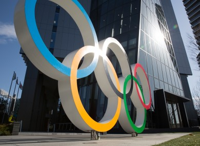 The Olympic Rings in front of the Japan Olympic Museum in Shinjuku.