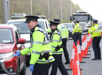 Gardai stopping cars at a checkpoint near the Bray exit off the M11 this morning, as part of Operation Fanacht.