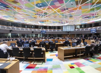 File photo. A meeting of EU finance ministers in February.