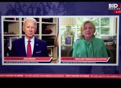 A virtual town hall meeting where Clinton endorsed Biden this evening.
